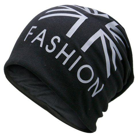 Shops Letters Printed Knit Beanie Hat - BLACK  Mobile