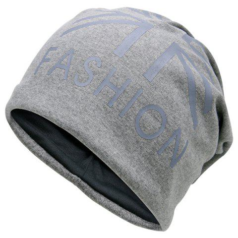 Latest Letters Printed Knit Beanie Hat LIGHT GRAY