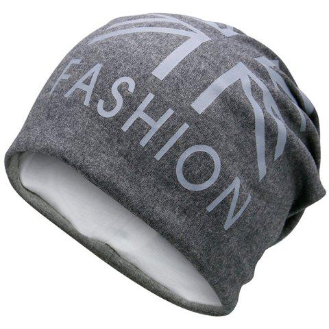 New Letters Printed Knit Beanie Hat - DEEP GRAY  Mobile