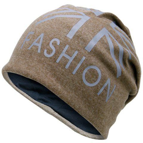 Sale Letters Printed Knit Beanie Hat LIGHT COFFEE