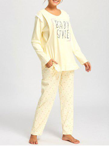 Affordable Nursing Floral PJ Set with Long Sleeves - XL LIGHT YELLOW Mobile
