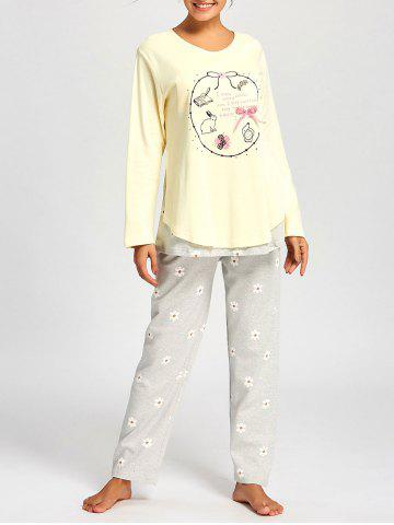 Trendy Nursing Cotton T-shirt with PJ Floral Pants - M LIGHT YELLOW Mobile