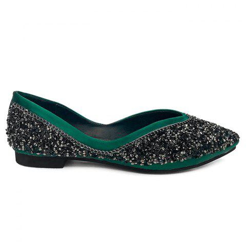 Discount Glitter Satin Slip On Flat Shoes GREEN 36