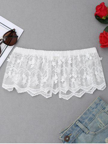 Discount Lace Slit Tube Bra WHITE S