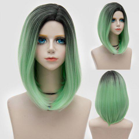 Unique Medium Side Parting Straight Bob Ombre Synthetic Party Wig - GREEN  Mobile