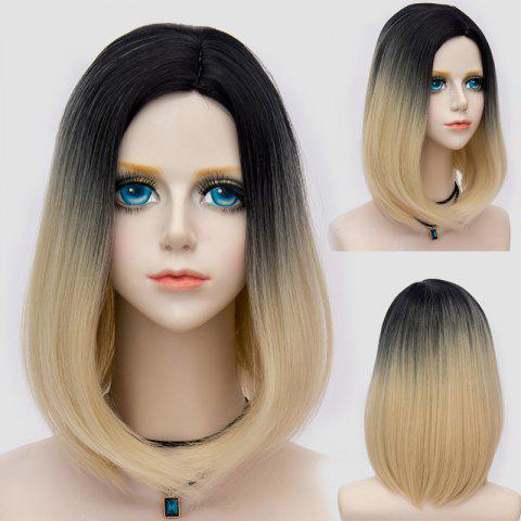 Fashion Medium Side Parting Straight Bob Ombre Synthetic Party Wig - BLACK AND GOLDEN  Mobile