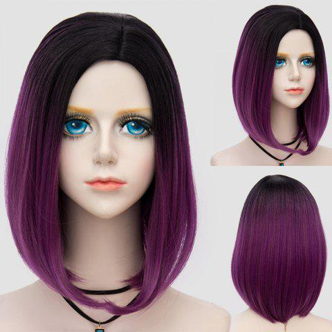Cheap Medium Side Parting Straight Bob Ombre Synthetic Party Wig DARK VIOLET