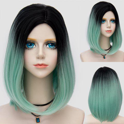Sale Medium Side Parting Straight Bob Ombre Synthetic Party Wig LIGHT GREEN