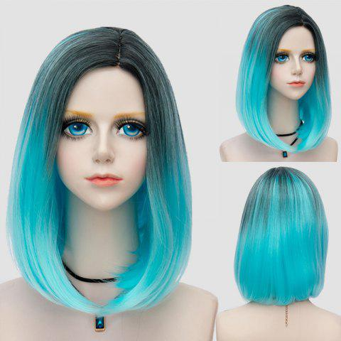Online Medium Side Parting Straight Bob Ombre Synthetic Party Wig WINDSOR BLUE