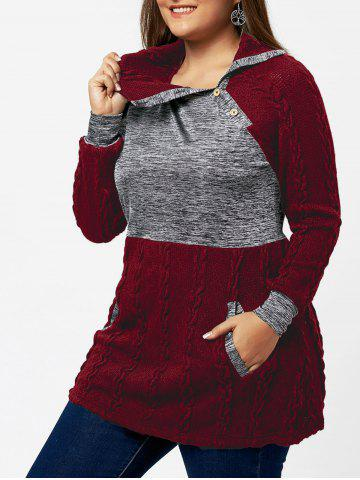 Buy Plus Size Pullover Pockets Cable Knit Sweater WINE RED 4XL