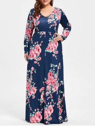 Plus Size Long Floral Maxi Dress