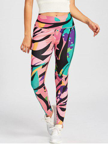 Online Printed High Waist Sport Leggings - S COLORMIX Mobile