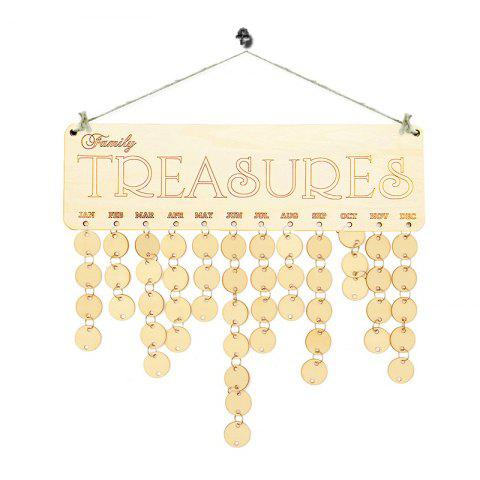 Discount DIY Family Birthday Calendar Wooden Hanging Reminder Board IVORY YELLOW