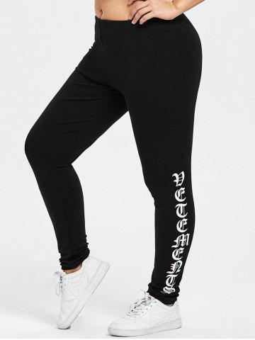 Chic Plus Size Skinny Music Notes Print Pants - XL BLACK Mobile