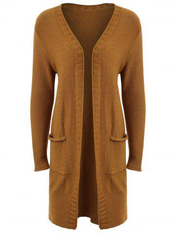 Fashion Plus Size Pocket Open Front Cardigan - 4XL BROWN Mobile