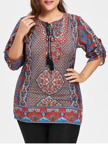 Latest Plus Size Floral Print Tassel Keyhole Blouse - 3XL WINE RED Mobile