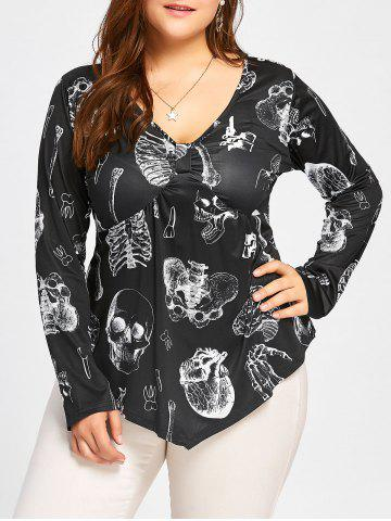 Shop Plus Size Draped Halloween Skeleton Printed T-shirt