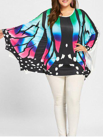 Hot Plus Size Asymmetrical Batwing Butterfly Poncho Tee - 2XL COLORFUL Mobile