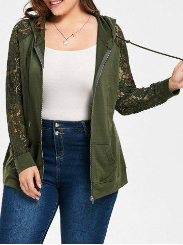 Affordable Plus Size Raglan Sleeve Hooded Floral Lace Jacket ARMY GREEN XL