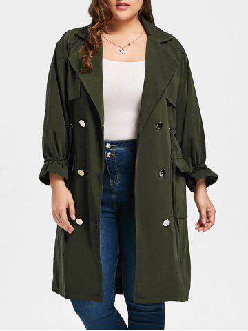 Hot Plus Size Slit Drawstring Waist Trench Coat - 5XL ARMY GREEN Mobile