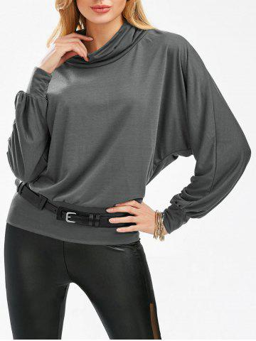 Fancy Stylish Cowl Necked Buttocks Tight Long Blouse