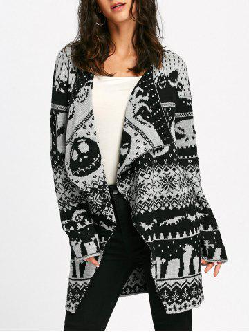 New Halloween Skull Knit Tunic Cardigan WHITE AND BLACK 2XL