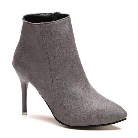 Trendy Pointed Toe Ankle Stiletto Boots GRAY 39