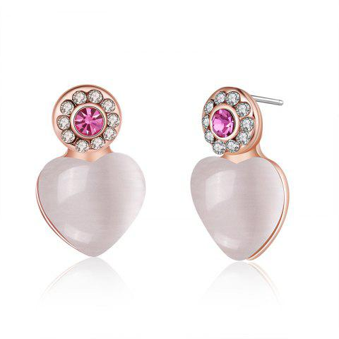 Unique Faux Opal Rhinestone Heart Stud Earrings