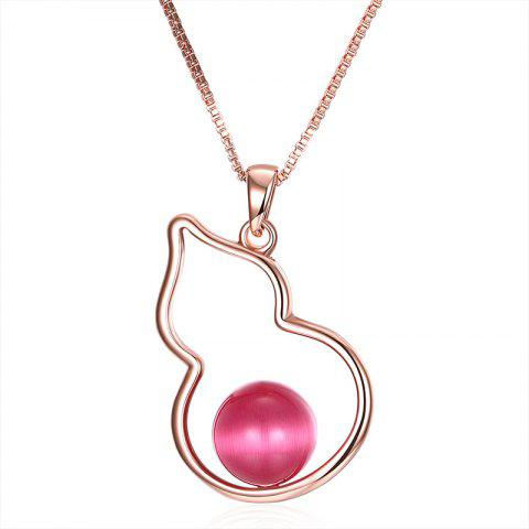Latest Bead Calabash Collarbone Charm Necklace - ROSE GOLD  Mobile