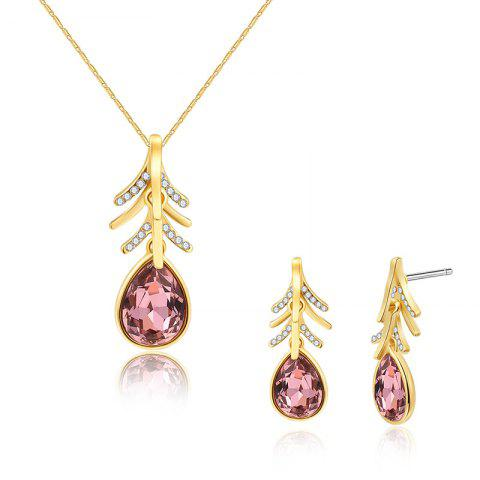 Buy Faux Crystal Teardrop Necklace with Earring Set - GOLDEN  Mobile