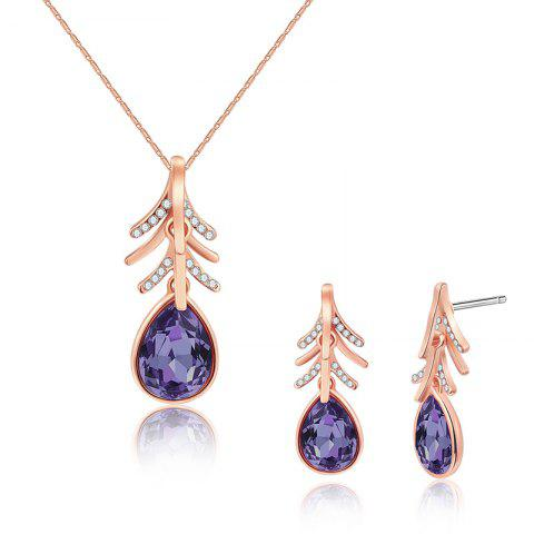 Outfits Faux Crystal Teardrop Necklace with Earring Set ROSE GOLD