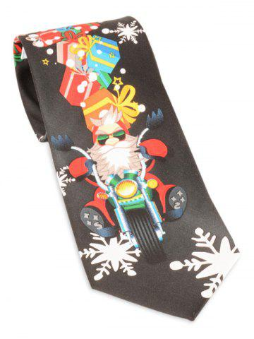 Store Santa Claus Ride a Motorbike with Gifts Printed Tie BLACK