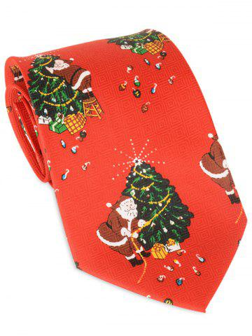 Outfit Santa Claus Christmas Tree Allover Tie RED