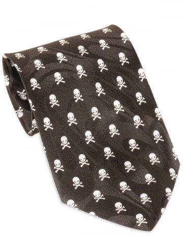 Shops Skull Pattern Halloween Themed Necktie - BLACK  Mobile