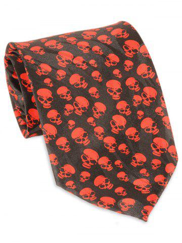 Hot Halloween Full Small Skull Printed Faux Silk Necktie RED