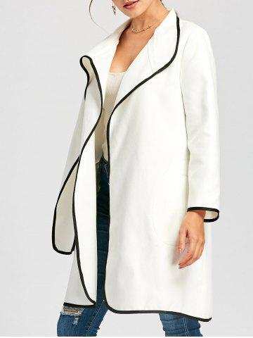 Affordable Contrast Knee Length Coat WHITE M