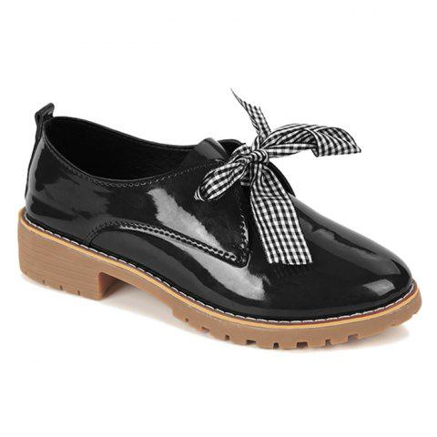 Store Bowknot Faux Leather Flat Shoes - 39 BLACK Mobile