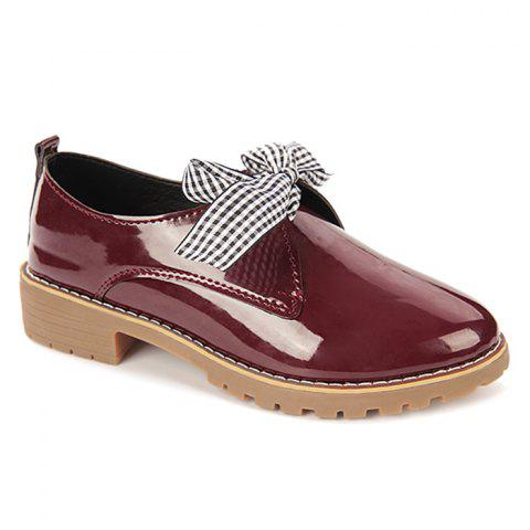 Best Bowknot Faux Leather Flat Shoes WINE RED 36