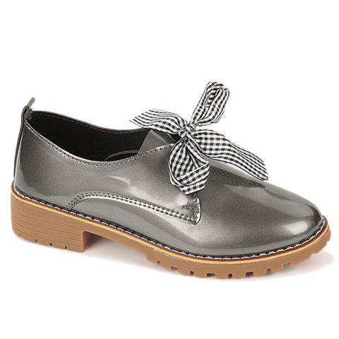 Shop Bowknot Faux Leather Flat Shoes TAUPE 40