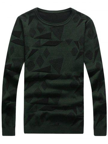 Discount Geometric Pattern Crew Neck Pullover Sweater BLACKISH GREEN 3XL