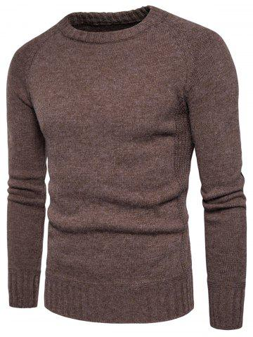 Store Knit Blends Elbow Patch Sweater - L COFFEE Mobile
