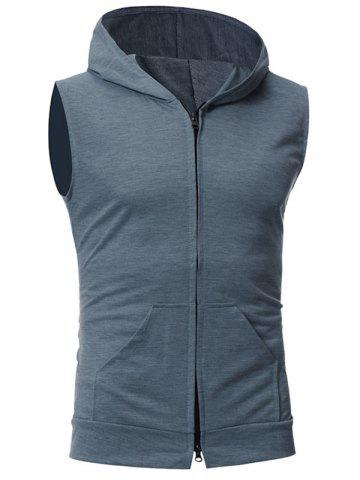 Buy Zip Up Kangaroo Pocket Hooded Vest DEEP GRAY M