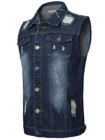 Online Double Chest Pocket Distressed Denim Vest - 2XL DEEP BLUE Mobile