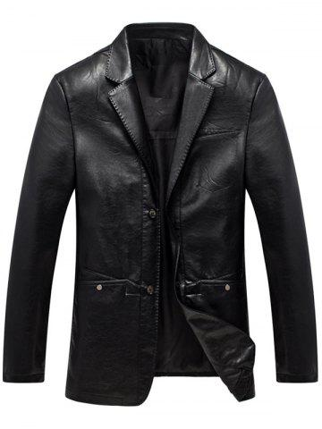 Shops Lapel Collar Single Breasted Faux Leather Blazer - M BLACK Mobile