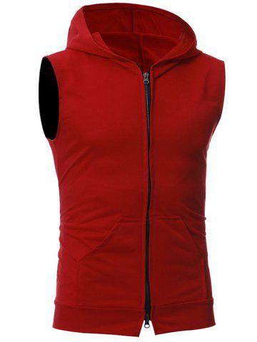 Outfits Zip Up Kangaroo Pocket Hooded Vest - RED 2XL Mobile