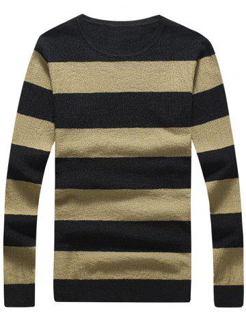 Fancy Crew Neck Striped Pullover Knitwear - 2XL KHAKI Mobile