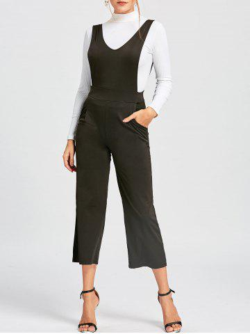 Affordable Palazzo Pinafore Jumpsuit - L BLACK Mobile