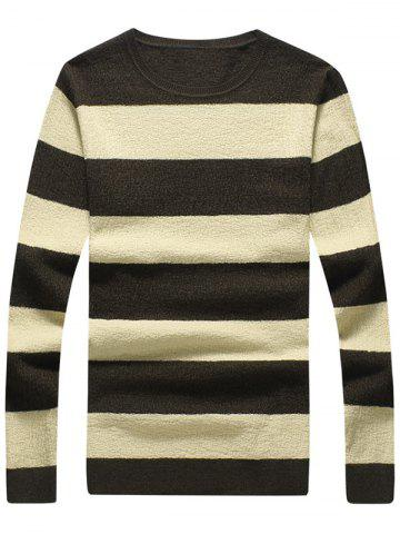 Shops Crew Neck Striped Pullover Knitwear - 3XL BEIGE Mobile