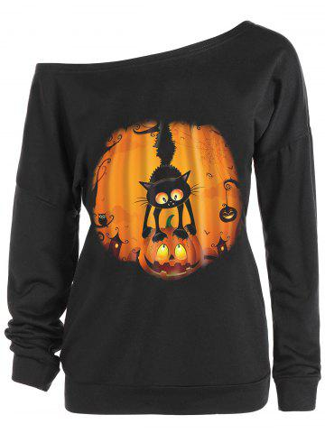 Sweat-shirt Halloween Imprimé Citrouille et Chat Encolure Cloutée Noir S