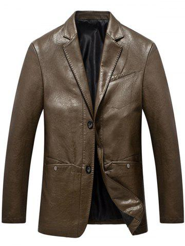 Latest Lapel Collar Single Breasted Faux Leather Blazer - M BROWN Mobile